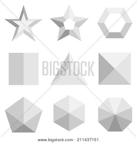 A Set Of Three-dimensional Geometric Shapes In Gray. Top View On Geometric Shapes