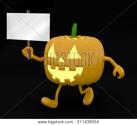 Halloween pumpkin with arms legs and banner on hand on dark background 3d illustration