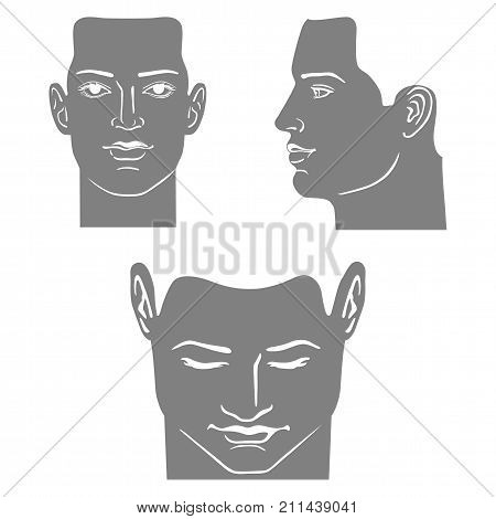 Man mask head set (front side views) vector illustration isolated on white background