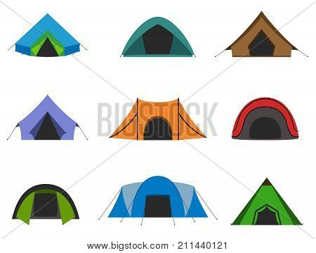 Set of camping tent. Tourists tents collection isolated. Vector illustration.