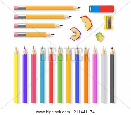 Realistic Detailed 3d Sharpened Color Pencils Set Closeup View Painting Accessories Instrument for Craft or Hobby . Vector illustration