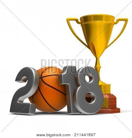 basketball 2018 on white background. Isolated 3D illustration