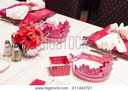 Close Up Of The Table Set For A Birthday Party In The American Girl Place Store, In New York City.
