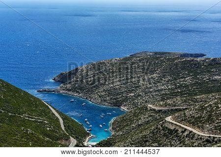 The landscape of the coastline. Porto-Vromi Bay (Greece Zakynthos Island)