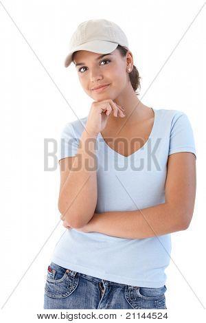 Young woman smiling, looking at camera.?