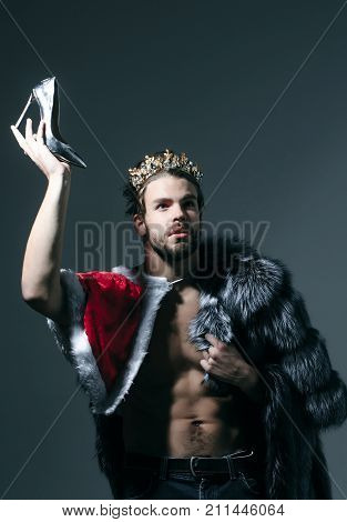 Cinderella prince with shoe on grey background. Freak gay and transvestite. Freedom and lgbt kitsch. Drag queen homosexual and trans. poster