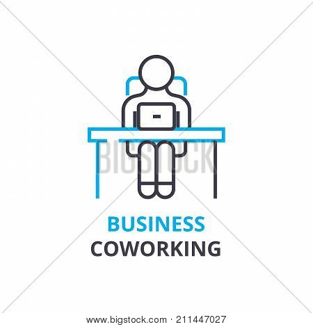 Business coworking concept , outline icon, linear sign, thin line pictogram, logo, flat illustration, vector