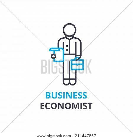 Business economist concept , outline icon, linear sign, thin line pictogram, logo, flat illustration, vector