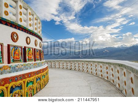 Shanti Stupa with dramatic sky, Leh Ladakh, India
