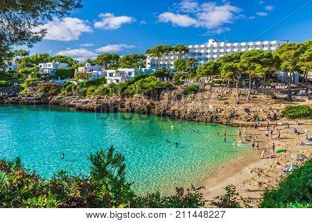 Cala Esmeralda beach Cala d'Or city Palma Mallorca Spain.