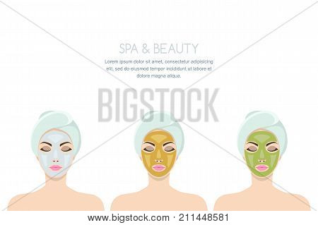Vector isolated illustration of woman with facial cosmetic mask. Female with golden mask green seaweed mud and white clay peeling. Design for beauty salon face cosmetology procedures and spa.