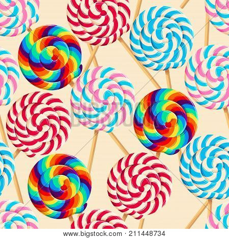 Vector seamless pattern with varicolored striped lollipops