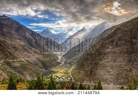 Dramatic landscape in Himalaya mountains. Ladakh, North India