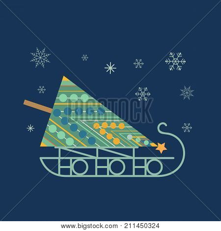 Santa Sleigh icon. Christmas snow sledge with decorated fir tree. Flat stylization minimal style in retro colors. Design element for winter holiday season new year event, greeting. Vector illustration