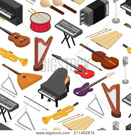 Music Instruments Background Pattern on a White Isometric View Rock, Jazz and Classic Sound. Vector illustration