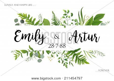 Wedding invite invitation card vector floral greenery design: Forest fern frond Eucalyptus branch green leaves foliage herb greenery berry frame border. Poster greeting Watercolor art illustration