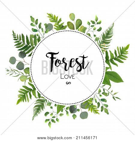 Floral vector invite card Design with green Eucalyptus fern leaves elegant greenery berry forest round circle wreath beautiful cure frame border print. Vector garden illustration Wedding Invitation