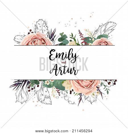 Vector floral design card boho art wedding watercolor Invitation card design: floral garden pink lavender Rose flower green eucalyptus agonis leaf hand drawn line feathers bead. Bohemian frame invite