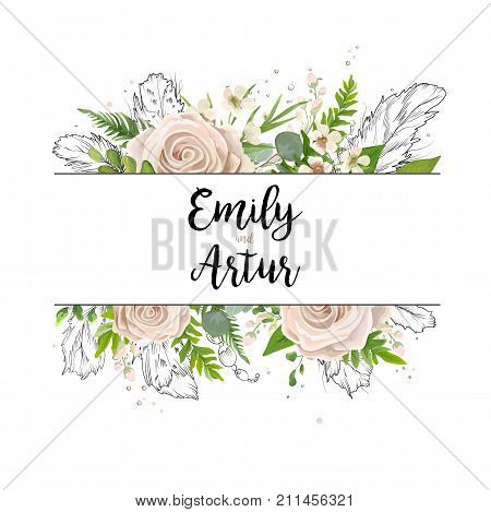 Vector floral card art wedding watercolor Invitation card design: floral garden powder white light rose Rose flower green Eucalyptus agonis leaf hand drawn line feathers bead Boho border frame invite
