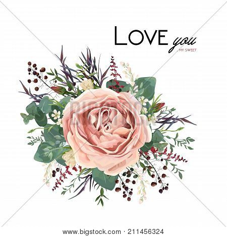 Vector floral watercolor style card design: Lavender antique pink powder garden Rose Eucalyptus seeded greenery thyme agonis purple leaf berry bouquet element. Vector invite poster lovely copy space