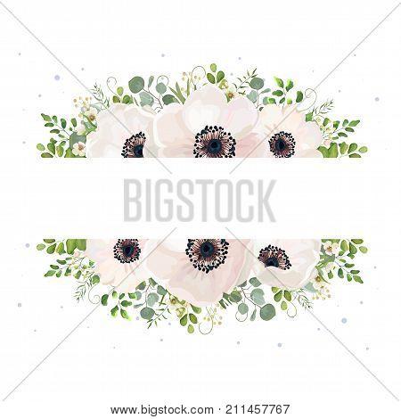 Vector floral card watercolor design: garden powder white pink Anemone flower Eucalyptus branch green fern wax flowers greenery leaves berry drawn rustic romantic border frame wedding invite postcard