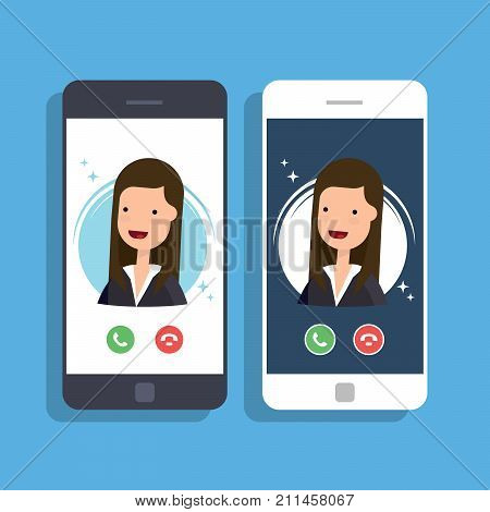Incoming call on mobile phone. Businesswoman or manager calls on the smartphone. Accept or reject an incoming call. Vector flat illustration