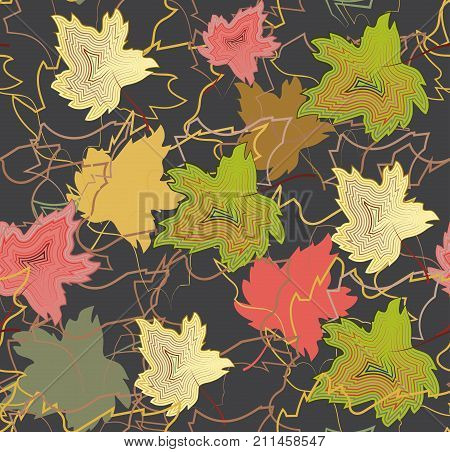 Pattern seamless from autumn maple leaves of different colors, for fabric and wrapping paper, vector EPS10