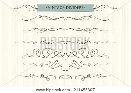 Vector hand drawn flourishes dividers graphic lovely design element set. Cute vintage borders. Wedding invitation cards page decoration. Calligraphy elegant designer swirls ornate motifs & scrolls