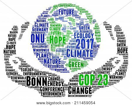 COP 23 in Bonn, Germany word cloud illustration