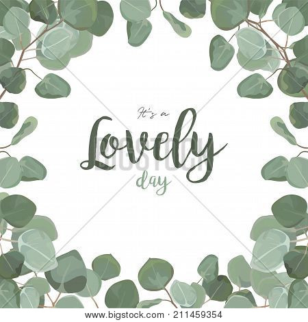 Vector floral card design: Eucalyptus silver dollar greenery foliage natural tropical branch leaf frame in watercolor. Vector square elegance decorative invite postcard elegant copy space illustration