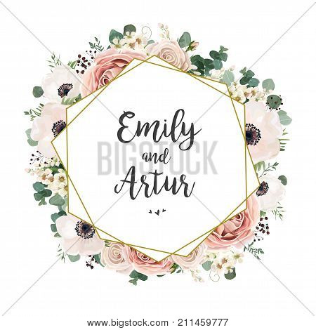 Floral Wedding Invitation elegant invite card vector Design: garden flower pink peach Rose white wax Anemone green Eucalyptus tender greenery berry bouquet golden geometric print frame copy space