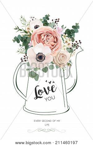 Floral elegant card vector Design: Rose peach flower white wax Anemone green Eucalyptus greenery berry bouquet in line hand drawn kettle vase illustration. Elegant rustic Wedding invite love you text