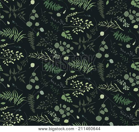 Seamless pattern of Eucalyptus palm fern different tree foliage natural branches green leaves herbs berries tropical heel hand drawn silhouette watercolor Vector decorative beauty elegant background
