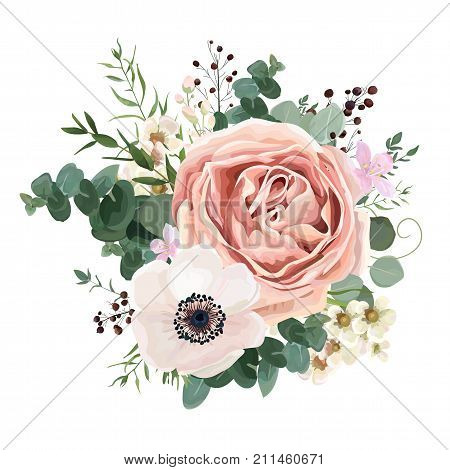 Floral card vector Design: garden flower lavender pink peach Rose white Anemone wax green Eucalyptus thyme leaves elegant greenery berry forest bouquet print.Wedding rustic Invitation elegant invite