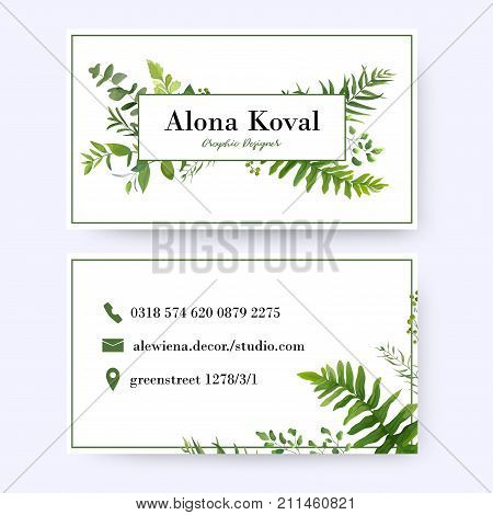 Floral business card design. Vintage rustic eucalyptus green herbs plants greenery leaves frame pattern in modern style with frame. Complied with the standard size. Elegant delicate tender layout