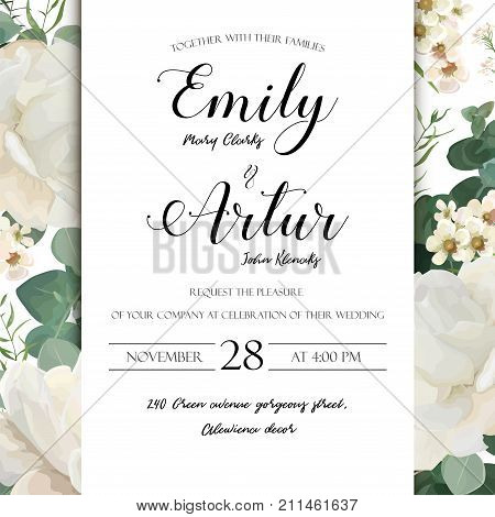 Floral Wedding Invitation save the date card elegant invite card vector Design: garden flower white Rose peony white wax green cute Eucalyptus tender greenery bouquet print frame and copy space layout