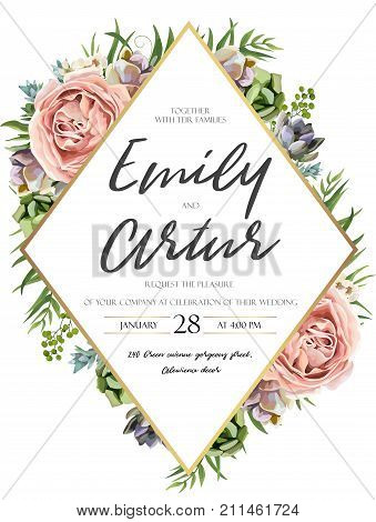 Vector floral design card: watercolor pink peach garden Rose green leaves succulent plant greenery. Natural botanical Greeting wedding invitation invite. Geometrical rhombus golden Frame & copy space