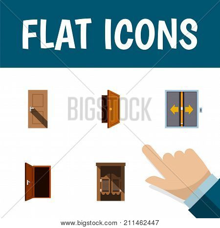 Flat Icon Door Set Of Entrance, Approach, Lobby And Other Vector Objects