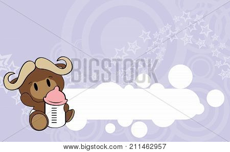 cute baby oxen cartoon background copyspace in vector format