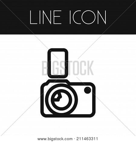 Flash Vector Element Can Be Used For Photocamera, Flash, Camera Design Concept.  Isolated Photocamera Outline.