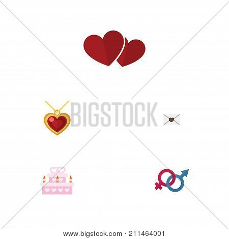 Flat Icon Passion Set Of Patisserie, Sexuality Symbol, Soul And Other Vector Objects