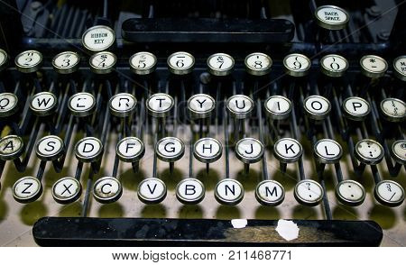 Closeup of the Keys on an Old Fashioned Typewriter Keyboard