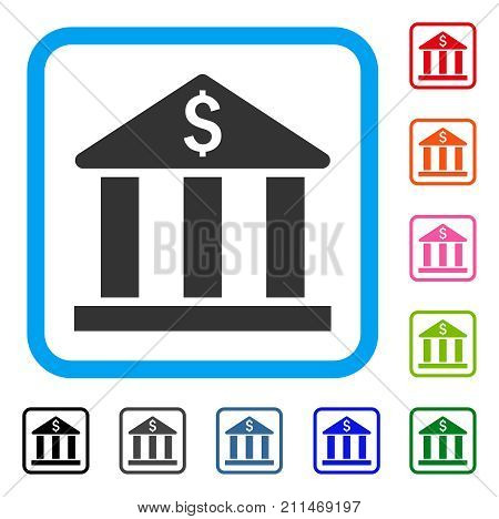 Bank Building icon. Flat gray pictogram symbol inside a blue rounded square. Black, gray, green, blue, red, orange color additional versions of Bank Building vector. Designed for web and software UI.