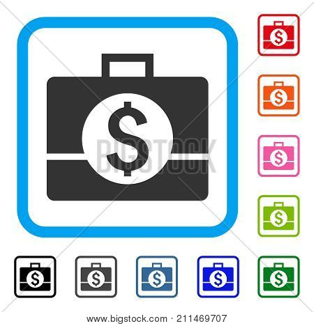 Business Case icon. Flat grey pictogram symbol inside a blue rounded rectangle. Black, gray, green, blue, red, orange color variants of Business Case vector. Designed for web and app interfaces.