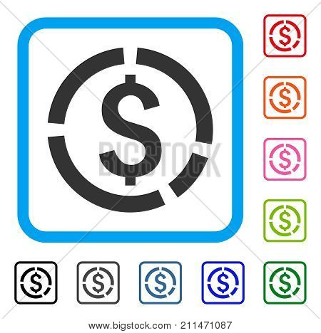 Financial Diagram icon. Flat grey pictogram symbol inside a blue rounded frame. Black, gray, green, blue, red, orange color additional versions of Financial Diagram vector.