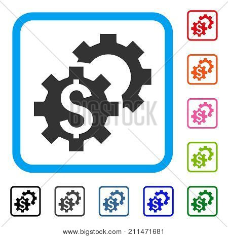 Financial Settings icon. Flat gray pictogram symbol inside a blue rounded squared frame. Black, gray, green, blue, red, orange color variants of Financial Settings vector.