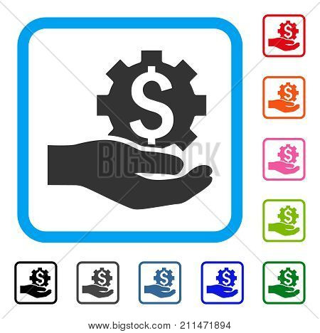 Industrial Banking Service Hand icon. Flat grey pictogram symbol inside a blue rounded frame. Black, gray, green, blue, red, orange color additional versions of Industrial Banking Service Hand vector.