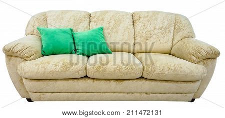 beige sofa. Soft velour fabric couch. Classic modern divan on isolated background.