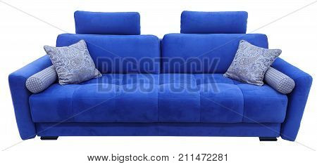 Blue sofa. Soft velour fabric couch. Classic modern divan on isolated background.