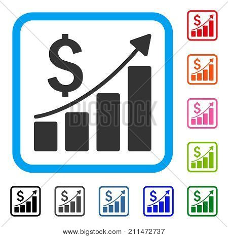 Sales Growth Chart icon. Flat grey iconic symbol inside a blue rounded rectangular frame. Black, gray, green, blue, red, orange color variants of Sales Growth Chart vector.
